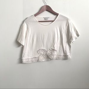 Carven - Lace Applique Crop top T-shirt